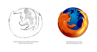 Initial Sketch of Firefox Logo During Creation