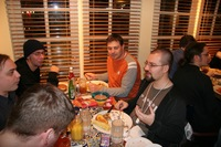 Mozillians eating together